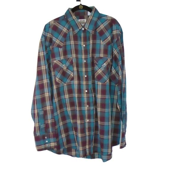 Ely Cattleman Other - Plaid VTG Shirt Pearl Snaps Single Stitch Men's XL